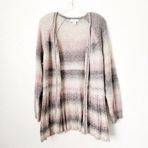 CJ Banks Cozy Stripes Open Front Knit Cardigan 629